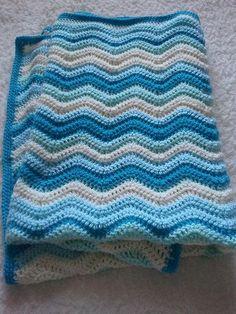Crochet Baby Boy Ripple Cot Blanket | Flickr - Photo Sharing!