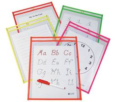 Reusable Dry Erase Pockets~  Be green, save time, money and paper~  Free Templates too