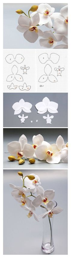 bastelideen mit papier, orchideen aus weißem papier falten craft ideas with paper, white paper orchids fold How To Make Paper Flowers, Tissue Paper Flowers, Paper Roses, Flower Paper, Paper Flower Templates, Paper Flower Tutorial, Giant Paper Flowers, Fabric Flowers, Felt Flowers Patterns