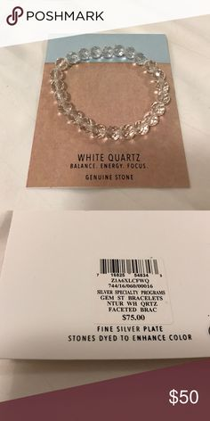White quartz genuine stone bracelet Genuine white quartz bracelet. Used to help with balance, energy & focus. Jewelry Bracelets