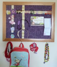 DIY Hair accessory and jewellery storage pinboard