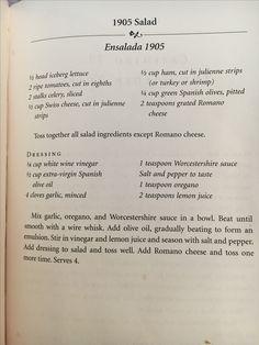 1905 salad: Columbia