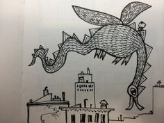 """Sketchbook page from my new book """"Have You Seen My Dragon?""""-Candlewick Press 2014"""