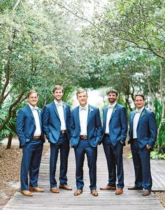 Wedding Groomsmen suits should be paid as much attention as bridesmaid dresses! We mean, they are your best friends, your brothers, the men that will see you get married even if you get cold feet! We have covered wedding attire groom related, but your groomsmen need their very own unique wedding tuxedos or suits or outfits that will make everyone know that those are the great men who will stand by your side while you go through the best day in your life and all those days to come! Groomsmen Outfits, Groom Attire, Groom And Groomsmen, Groom Suits, Blue Groomsmen Suits, Groomsman Attire, Groomsmen Poses, Navy Groom, Wedding Goals