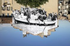 """""""UNFRAMED, un groupe posant dans une barque ammarée sur la plage revu par JR, vers 1930, Marseille, France"""" / """"UNFRAMED, a group posing in a bark moored on the beach, reviewed by JR, circa 1930, Marseille, France """"  2013 / Photographie couleur, plexiglas mat, aluminium, bois  / Color photograph, mat plexiglas, aluminium, wood / 180 x 270,8 cm / 70 3/4 x 106 1/2 inches / 3/3 + 2AP"""