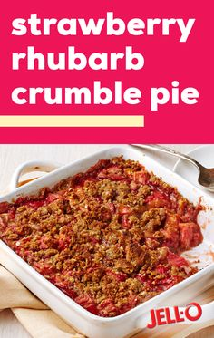 Strawberry-Rhubarb Crumble Pie – When you think of the perfect spring or summer dessert, this strawberry and rhubarb crisp is sure to come to mind! Filled with fresh fruit flavors and an oat, walnut, and brown sugar topping, this sweet treat has it all. Best Apples For Baking, Strawberry Rhubarb Crumble, Pie Crumble, Cooked Apples, Rhubarb Recipes, Yummy Food, Tasty, Kraft Recipes, Pie Dessert