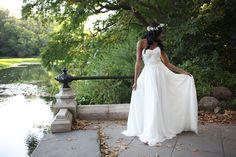 The Cordelia dress with its full silk chiffon skirt.