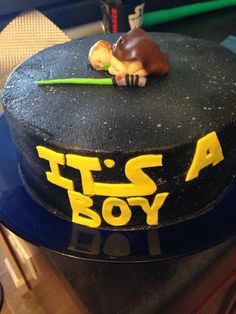 This was my awesome Star Wars baby shower cake--a total surprise for me! Made by the amazing @Loren Cline Krauss of L of a Cake (click through for her business info)