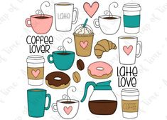 Coffee Lover Hand Drawn Digital Clipart - Set of 20 - Coffee, Latte, Donuts, Coffee Beans - Instant Doodle Drawings, Doodle Art, Coffee Doodle, Lovers Hands, Gingerbread Latte, Bullet Journal Art, Cute Doodles, Lettering, Coffee Beans