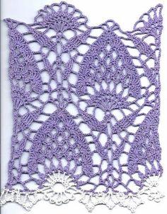 more pretty pineapple crochet Crochet Motifs, Crochet Blocks, Crochet Borders, Crochet Stitches Patterns, Crochet Diagram, Crochet Chart, Lace Patterns, Knit Or Crochet, Filet Crochet