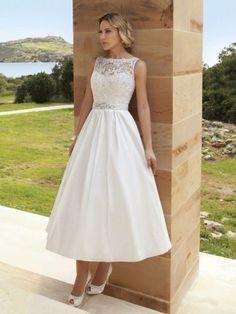 Nuevo romántico Encaje Vintage temática té longitud Vestidos de Novia Vestido De Novia Talla