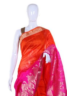 This Orange and Pinkcoloured benarasi saree is perfect for a wedding or any occassion. Material : Jute and Dupion Silk...
