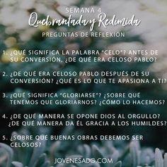 QUEBRANTADA Y REDIMIDA / Semana 4  Preguntas de Reflexión   #JovenesADG #QuebrantadayRedimida #ComunidadADG #EstudiosBiblicosparaJovenes #Dios #Redencion #Quebranto #AmaaDiosGrandemente