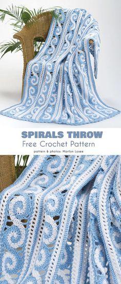 Spirals Throw Free Crochet Pattern - Knitting for Beginners Crochet Afghans, Crochet Motifs, Crochet Quilt, Knit Or Crochet, Crochet Crafts, Crochet Stitches, Crochet Hooks, Crochet Projects, Free Crochet