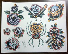 Roses: Traditional Tattoo Flash Sheet by DerekBWard on Etsy