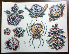 Roses: Traditional Tattoo Flash Sheet by DerekBWard on Etsy