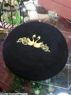 metamorphose  Rose Swan Embroidered Beret