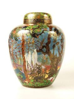 """Wedgwood Fairyland Lustre """"Ghostly Wood"""" Malfrey vase and cover, designed by Daisy Makeig Jones, c1920, England"""