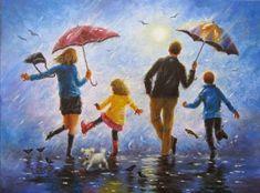 Pop Art Studio gif: not afraid of rain when the family Family Illustration, Illustration Art, Crayons Pastel, I Love Rain, Family Drawing, Rain Painting, Autumn Painting, Singing In The Rain, Teaching Art