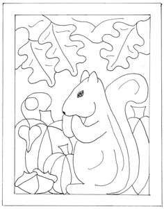Punch Needle Patterns Free Printable | Squirrel | Primitive Rug Hooking - Coloring Home