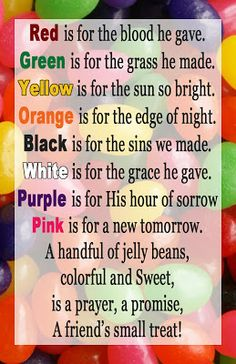 Jelly bean poemprayerverses and a craft easter pinterest easter jelly bean handout my lds negle Images