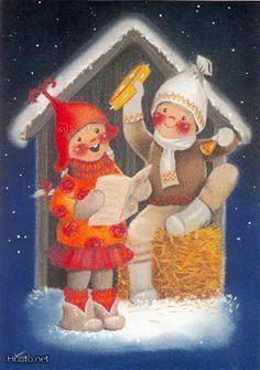 Kaarina Toivanen Dream Illustration, Paper Illustration, Christmas Illustration, Christmas Gnome, Vintage Christmas, Christmas Crafts, Scandinavian Kids, Gifs, Winter Solstice