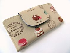 Fabric wallet Tan Taupe Purple Macaron Patisserie Paris Cake Sweet Chocolate Neutral beige Clutch wallet. €25,00, via Etsy.