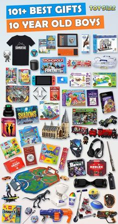 Gifts For 10 Year Old Boys 2019 – List of Best Toys - Gifts for 10 year old boys or girls for birthdays, Christmas, or any occasion. See the best toys for 10 year old boys. Tons of gift ideas for 10 year olds sorted by category. Christmas Gifts For 10 Year Olds, 10 Year Old Gifts, Christmas Gifts For Boys, 12 Year Old Boy, Birthday Gifts For Boys, Birthday Games, Birthday Ideas, Husband Birthday, Birthday Crafts