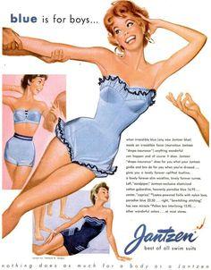 Jantzen swimusit women fashion illustration by Christian Montone Vintage Advertisements, Vintage Ads, Vintage Posters, Vintage Classics, Vintage Bathing Suits, Vintage Swimsuits, Lingerie Vintage, Vintage Outfits, Vintage Fashion