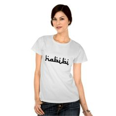 """Artistic Habibi: """"Habibi"""" is an Arabic word of endearment, which can mean either friend or darling (male or female). This design is an artistic merging of two languages into one - a union of English & Arabic (Middle Eastern Arab Designs - Women's Clothing - T-Shirts)"""