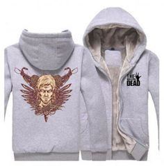 The walking dead zip up hoodie thick fleece clothing Daryl design Fleece Hoodie, Hooded Sweatshirts, Hoodies, Fat Man, Daryl Dixon, The Walking Dead, Plus Size Outfits, Zip Ups, Black And Grey
