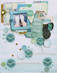 I think she did a great job with dimension and texture.  Stampin' Mania carries the paper line used in this layout - The Pier by Crate Paper. Check us out.  StampinMania.com  check out Stephanie's blog post - gorgeous Roebuck Adventures: Crate Paper's The Pier Summer Splash Challenge