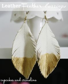 "DIY leather feather earrings ""dipped"" in gold - www.cupcakesandcrinoline.com"