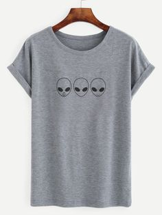 Shop Heather Grey Alien Print Roll Sleeve T-shirt online. SheIn offers Heather Grey Alien Print Roll Sleeve T-shirt & more to fit your fashionable needs.
