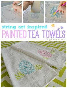 String Art Inspired Painted Tea Towels- Create some fun and modern tea towels with this string art inspired stamping technique.