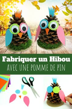 A kind DIY fun to do with children. To manufacture these owls children simply use a pine cone, a . Crafts To Do, Fall Crafts, Crafts For Kids, Cardboard Crafts Kids, Pinecone Owls, Owl Kids, Fall Preschool, Pine Cone Crafts, Kids Artwork