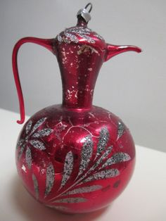 Antique Mercury Glass LARGE Urn Pitcher Christmas Ornament - as found