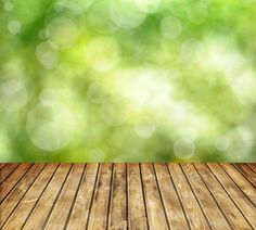 EPS Backdrop ::  Spring Green Bokeh with Wood Floor 5x12
