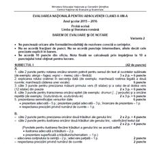 BAREM romana EVALUARE NATIONALA 2016. Rezolvari corecte EDU.RO   REALITATEA .NET