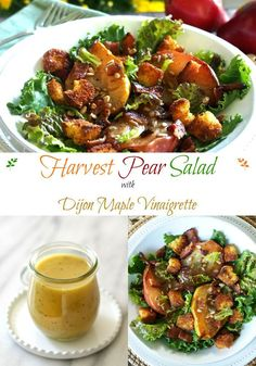 Harvest Pear Salad. Juicy roasted pears, baked cornbread croutons, crispy bacon, toasted sesame seeds & salad greens make a perfect side salad or main dish. Simply Sated