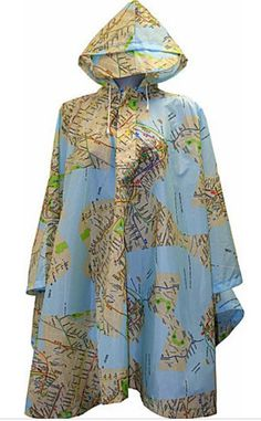 Leighton Umbrellas Hooded NYC Poncho with Map Print