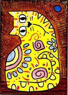 'i think i love you' e9Art ACEO Cat One-of-a-Kind Original Miniature Folk Art #Expressionism