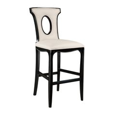 Sterling Alexis Wood & Leather Stool Chair (Black & White)