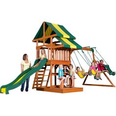 You children will have hours of safe fun in the Backyard Discovery backyard playset. It has an upper play deck with a brightly colored canopy, a sand box, a set of swings, and a speedy slide, so there's plenty of things for your children to do.
