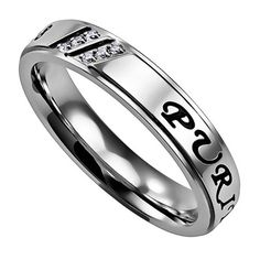 PURITY Promise Religious Scripture Ring, Stainless Steel CZ