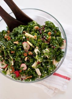 Kale Salad with Apple, Radishes, Cranberries and Pecans.. sounds like it could be good? I almost think it should have an avocado dressing instead of this dijon one.