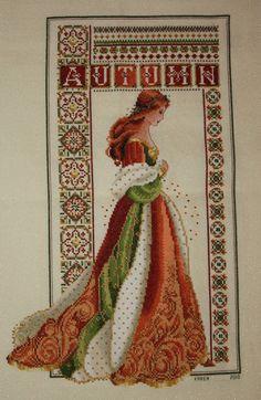 0 point de croix femme celtique automne- cross stitch celtic lady autumn