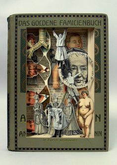 UK-based artist Alexander Korzer-Robinson carves out spectacular storybook scenes from old books and encyclopedias. All images in the final work are seen from their original place in the book. Korzer-Robinson creates his book art by cutting into pages, exposing some of the illustrations while removing others, but never adding anything into a scene.