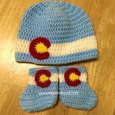 b090e7d09 Crochet Baby Blue Colorado Hat and Baby Booties Set - newborn