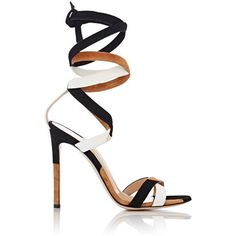 Gianvito Rossi Crosby Ankle-Tie Sandals ($995) ❤ liked on Polyvore featuring shoes, sandals, multi, open toe sandals, suede sandals, ankle tie sandals, suede shoes and ankle strap shoes